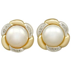 Mabe Pearl and Diamond Yellow Gold Earrings