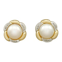 Vintage Mabe Pearl and Diamond Yellow Gold Earrings, circa 1980