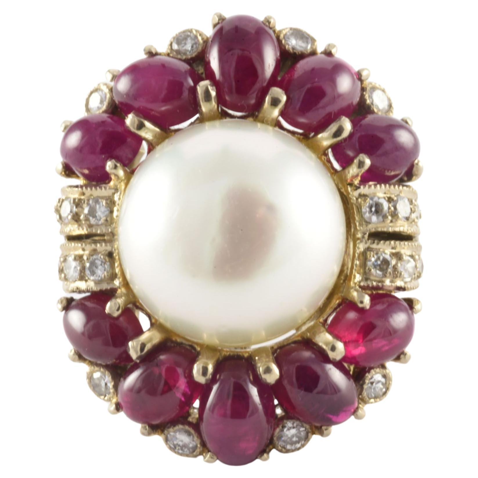Vintage Mabe Pearl Diamond and Ruby Cocktail Ring