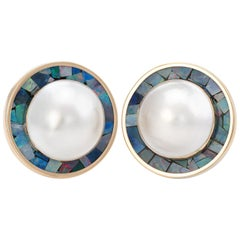 Vintage Mabe Pearl Earrings Inlaid Opal Round 14 Karat Gold Estate Jewelry