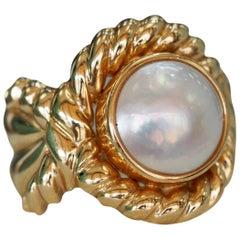Vintage Mabe Pearl Rope Ring in 14 Karat Yellow Gold