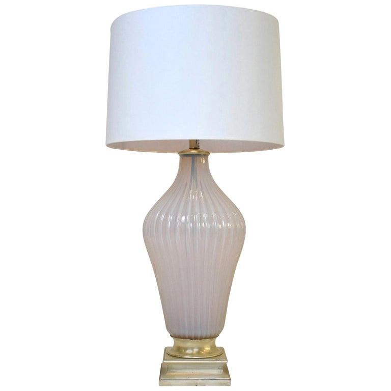 Vintage Mabro Murano Pink White Opaline Glass Lamp For Sale
