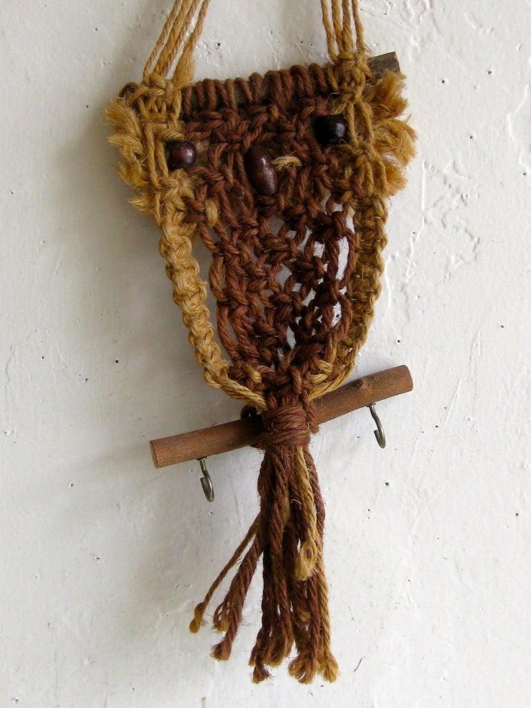 Vintage Macramé Fiber Art Figural Owl Wall Sculpture Hanging Hippie Art For Sale 5