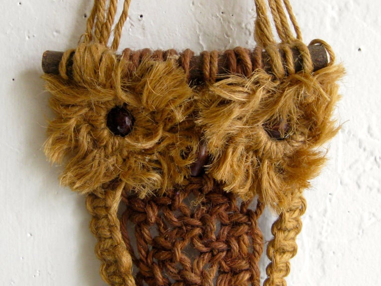 Other Vintage Macramé Fiber Art Figural Owl Wall Sculpture Hanging Hippie Art For Sale