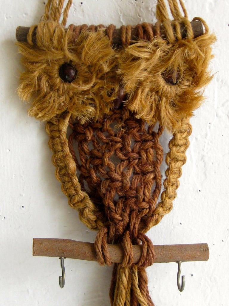Vintage Macramé Fiber Art Figural Owl Wall Sculpture Hanging Hippie Art For Sale 1