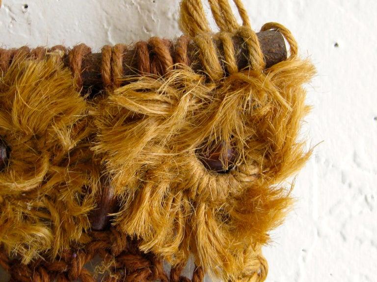 Vintage Macramé Fiber Art Figural Owl Wall Sculpture Hanging Hippie Art For Sale 4