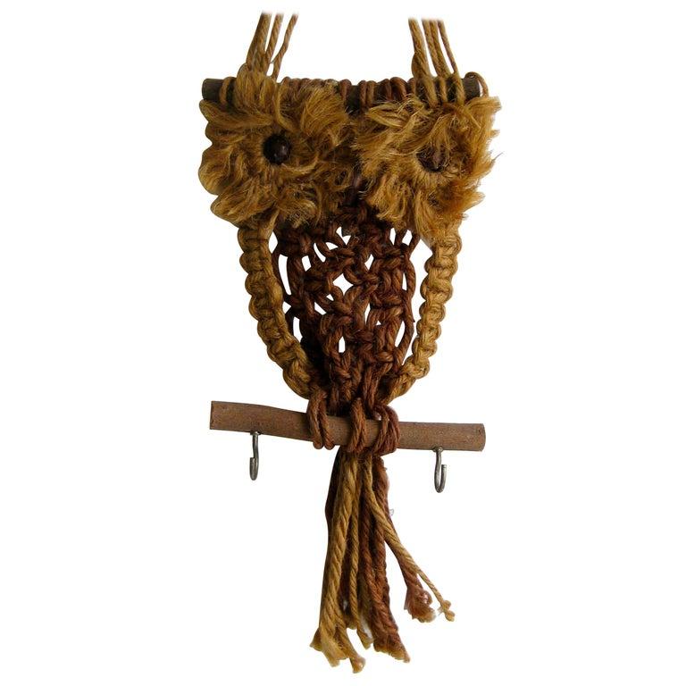 Vintage Macramé Fiber Art Figural Owl Wall Sculpture Hanging Hippie Art For Sale
