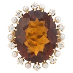 Vintage Madeira Citrine Mine Diamond Pearl Cocktail Ring 14k Gold Estate Fine