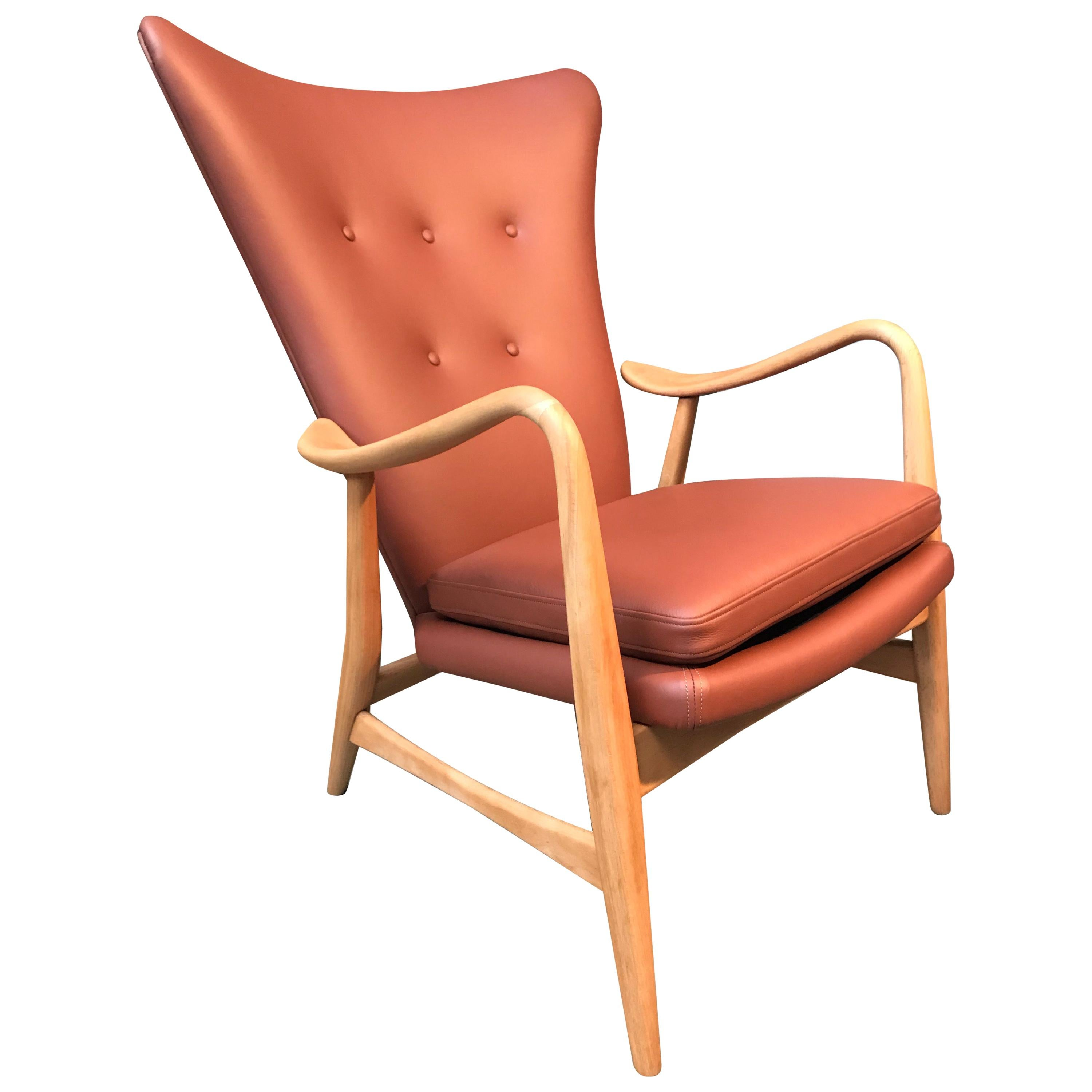 Vintage Danish In The Style Of Madsen and Schubell Wingback Lounge Chair
