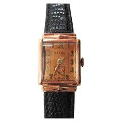 Vintage Madus 14 Karat Rose Gold Watch with Lizard Strap