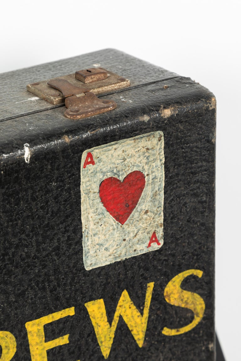 American Vintage Magician Magic Suitcase Hand Painted Folk Art For Sale