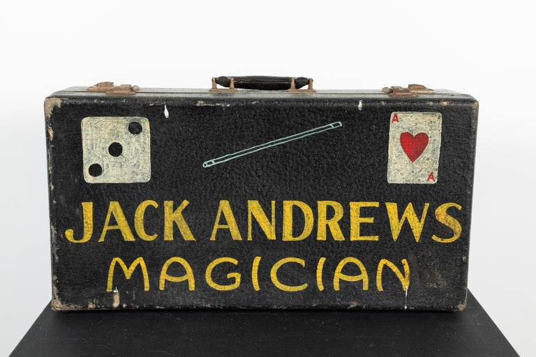 Hand-Painted Vintage Magician Magic Suitcase Hand Painted Folk Art For Sale