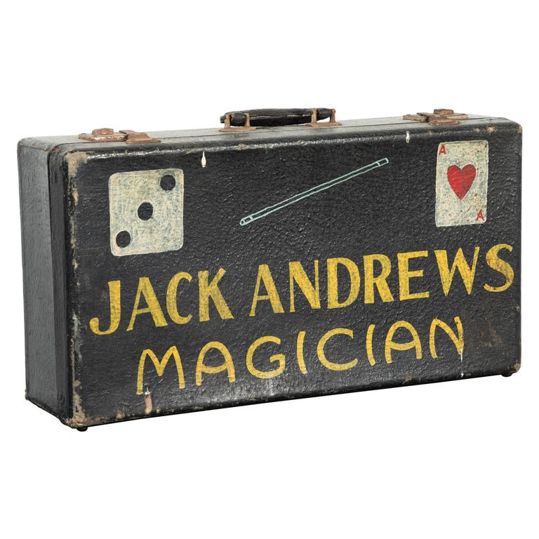 Vintage Magician Magic Suitcase Hand Painted Folk Art For Sale