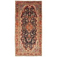 Vintage Mahal Gallery Rug with Ornate Medallion on a Navy Field