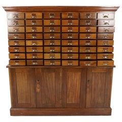Vintage Mahogany 48 Drawer File Cabinet, Cupboard, Scotland 1920, B2549