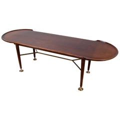 Vintage Mahogany and Brass Coffee Table by A.A.Patijn for Zijlstra, 1950s