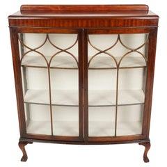 Vintage Mahogany Bow Front China Cabinet, Display Cabinet, Curio Cabinet, B1385