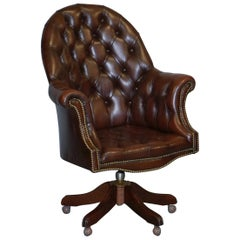 Vintage Mahogany Brown Leather Chesterfield Tufted Captains Directors Armchair