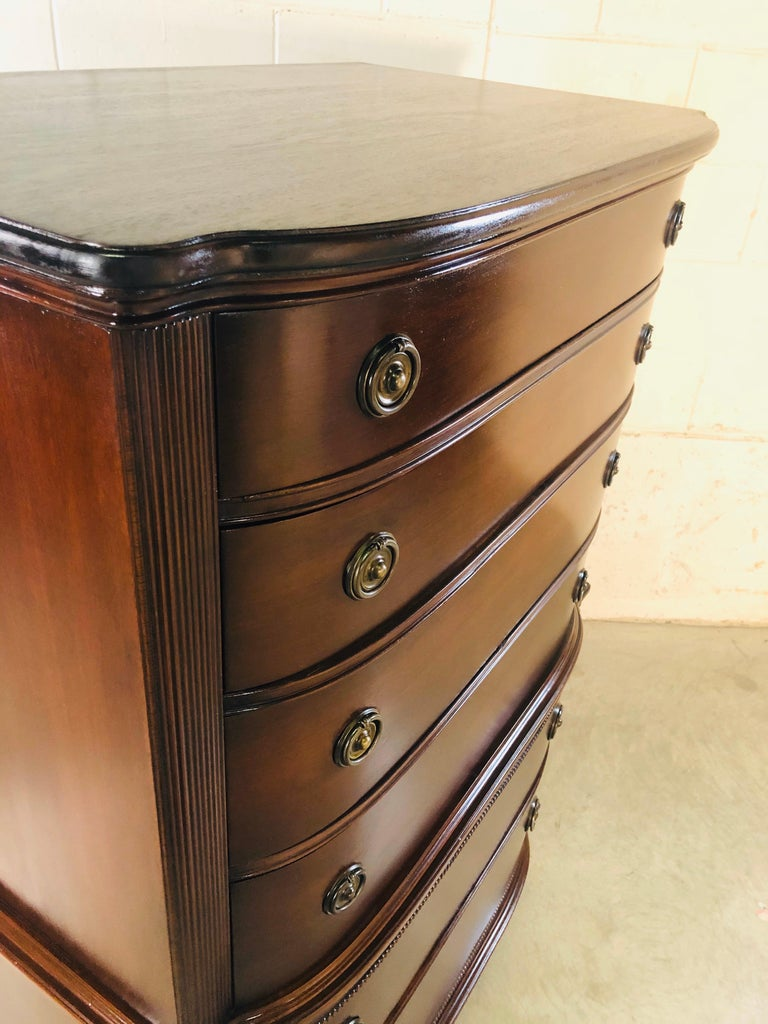 Vintage Mahogany Curved Front Federal Style Tall Dresser For Sale 5