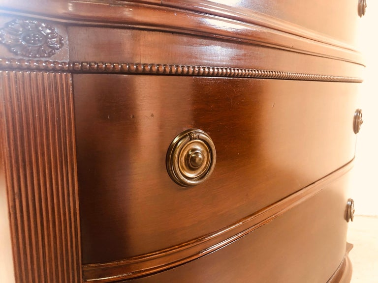 Vintage Mahogany Curved Front Federal Style Tall Dresser For Sale 10