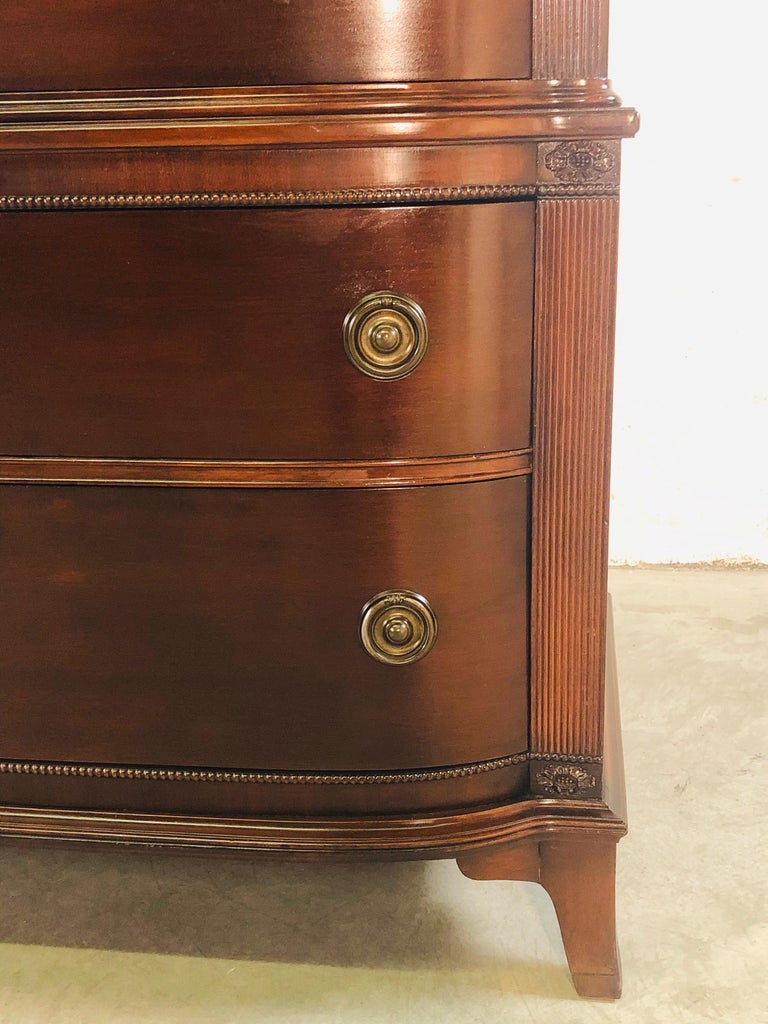 20th Century Vintage Mahogany Curved Front Federal Style Tall Dresser For Sale