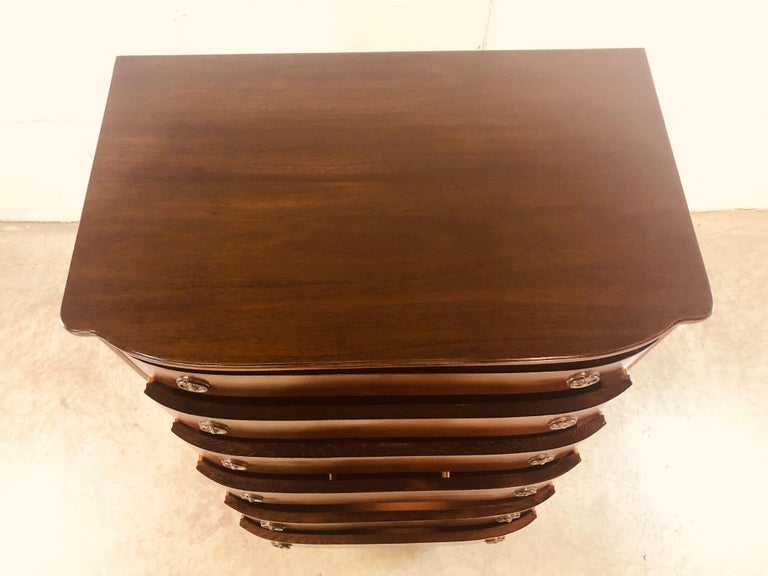 Vintage Mahogany Curved Front Federal Style Tall Dresser For Sale 3