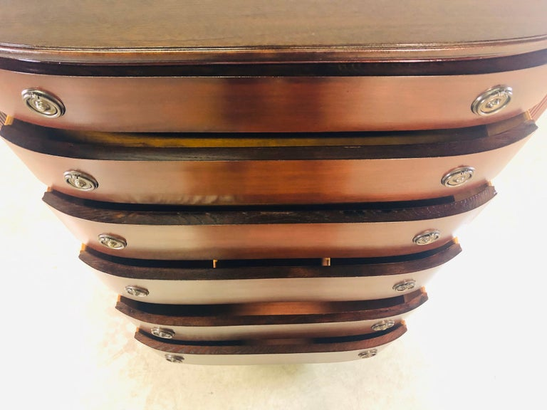 Vintage Mahogany Curved Front Federal Style Tall Dresser For Sale 4