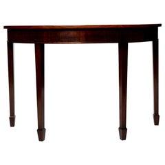 Vintage Mahogany Demilune Table on Spade Feet
