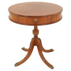 Vintage Mahogany Drum Table Lamp Table, America, 1940