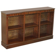 Vintage Mahogany Dwarf Open Library Bookcase Sideboard Height Adjustable Shelves