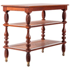 Vintage Mahogany Étagère / Side Table, West Indies Style with Woven Cane Shelves