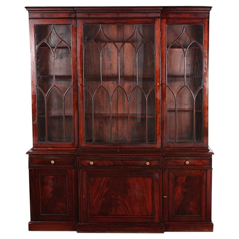 Vintage Mahogany Georgian Revival Breakfront Bookcase