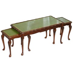 Vintage Mahogany & Green Leather Topped Coffee Table Plus 2 Nest of Small Tables