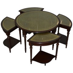 Vintage Mahogany & Green Leather Topped Coffee Table Plus 4 Nest of Small Tables