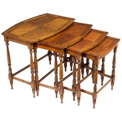 Vintage Mahogany and Inlaid Nest of 4 Tables