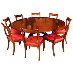 Vintage Mahogany Jupe Dining Table, Leaf Cabinet and 8 Chairs, Mid-20th Century