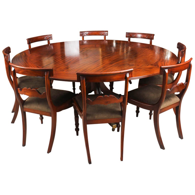 Dining Table And Chairs For Sale: Vintage Mahogany Jupe Dining Table, Leaf Cabinet And Eight