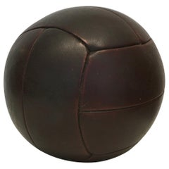 Vintage Mahogany Leather Medicine Ball, 3kg, 1930s