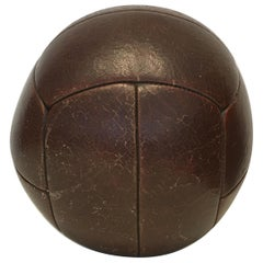 Vintage Mahogany Leather Medicine Ball, 4kg, 1930s