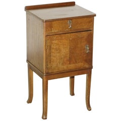 Vintage Mahogany Mid-Century Modern Side Table Cupboard Single Door and Drawer