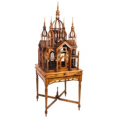 Vintage Mahogany Sacre Coeur Cathedral Bird Cage on Stand, 20th Century