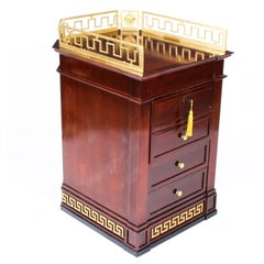 Vintage Mahogany Versace Pedestal Commode Chest, Late 20th Century