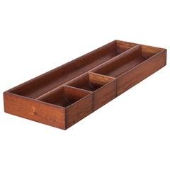 Vintage Mahogany Wood Desk Organizer Tray Valet Box, Mexico, 1950s