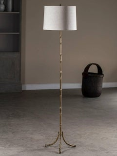 Vintage Maison Bagues French Faux Bamboo Brass Floor Lamp circa 1940