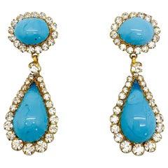 Vintage Maison Gripoix Pate De Verre Poured Turquoise Glass Teardrop Earrings