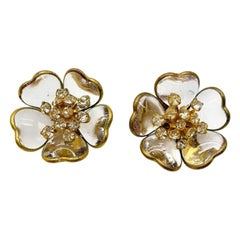 Vintage Maison Gripoix White 'pate De Verre' Gold Floral Earrings 1960s