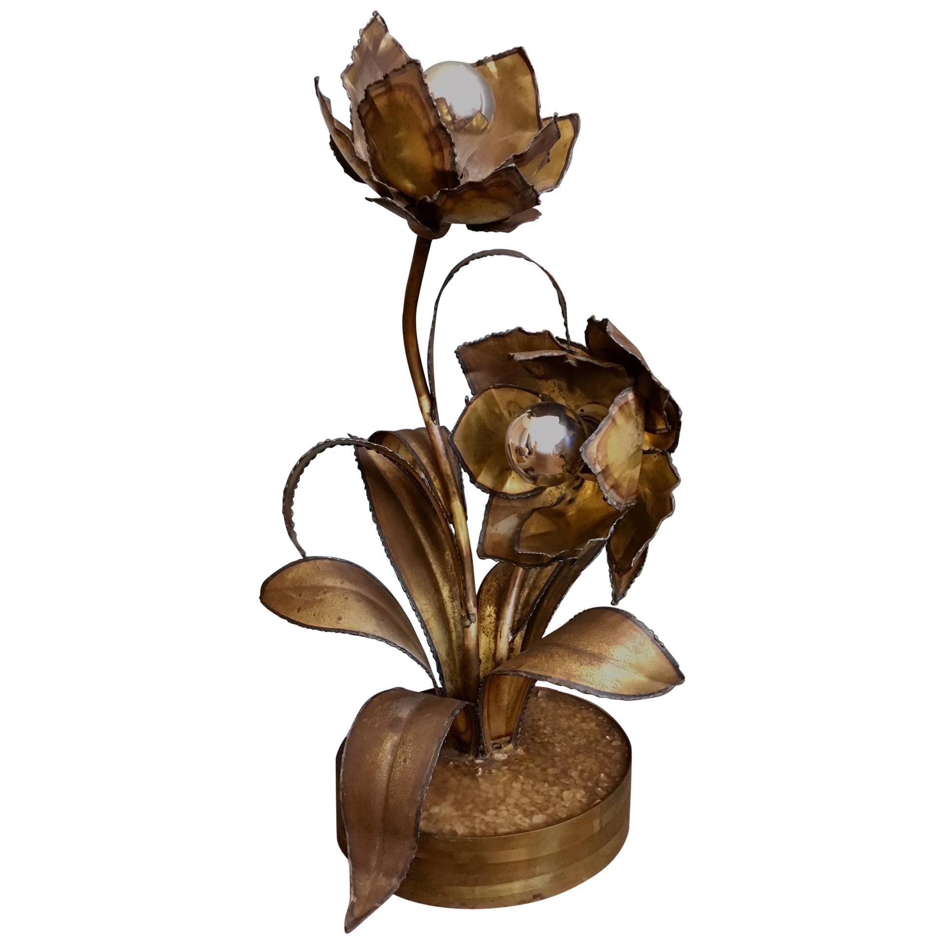 Vintage Maison Jansen Rose Table Lamp in Brass