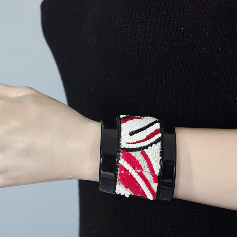 Vintage MAISON LESAGE Beaded Cuff Bracelet  MAISON LESAGE represents all that is luxurious in haute couture . Famous in providing those richly detailed embroidery and fabric pieces for couturiers like Schiaparelli, Chanel, Balenciaga, Christian