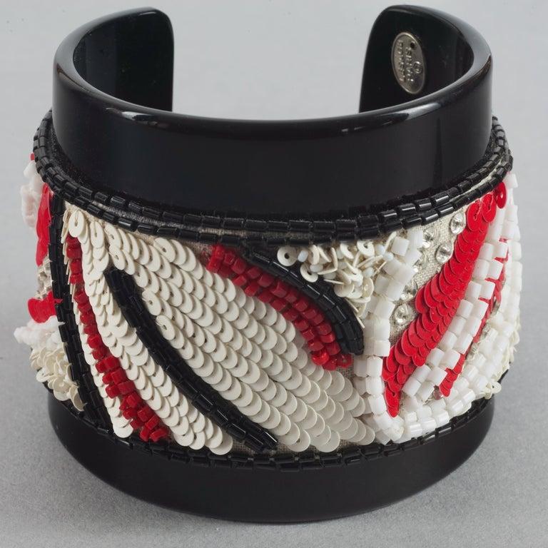 Vintage MAISON LESAGE Beaded Cuff Bracelet In Excellent Condition For Sale In Kingersheim, Alsace