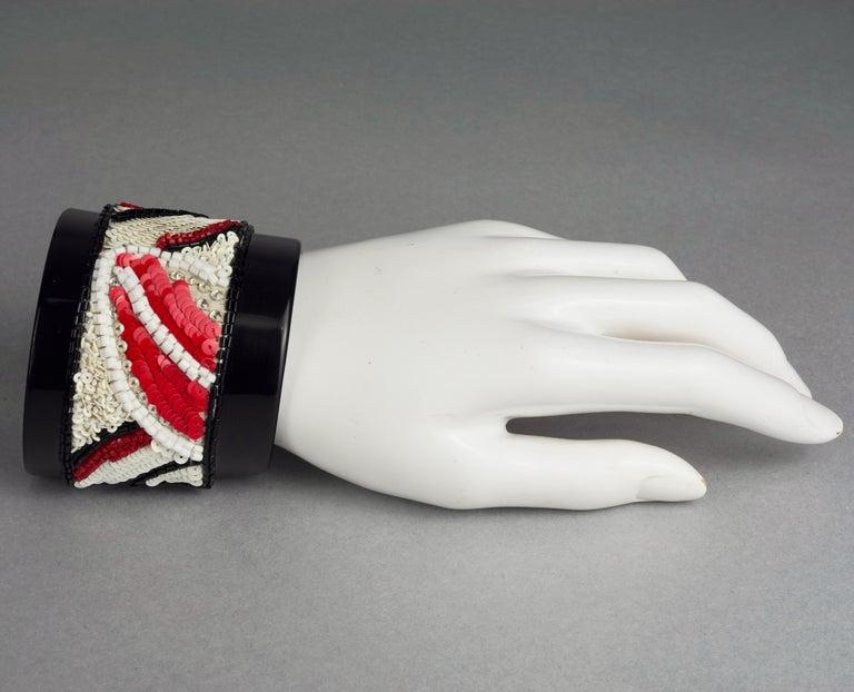 Vintage MAISON LESAGE Beaded Cuff Bracelet For Sale 4